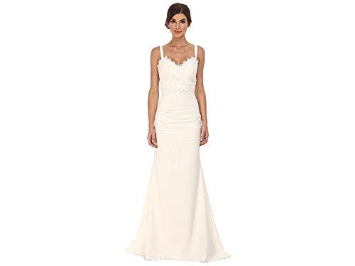 Nicole Miller Women's Tonya Stretch V-Neck Gown Antique White 0
