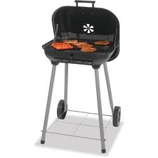 1 X Charcoal Grill, Backyard Grill 17.5'', Grills up to 15 Burgers. Porcelain enamel cooking grid. With 2 plastic wheels for easy transport. Dimensions: 18.31''L x 5.22''W x 18.5''H by Backyard Grill