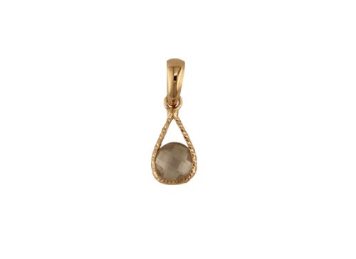 18Kt Red Gold Pink Quartz Drop Charm (11mm X 6mm/19mm with Bail)
