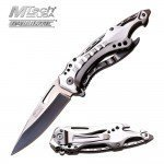 MTech USA Ballistic MT-A705SL Spring Assist Folding Knife, Silver Straight Edge Blade, Silver Handle, 4.5-Inch Closed