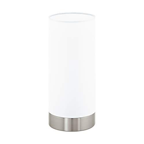 Eglo Lámpara de Mesa E27, Blanco/Nickel-Matt, 10 x 10 x 21.5 cm