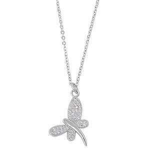 Dragonfly Glitzs Jewels 925 Sterling Silver Cubic Zirconia Necklace for Women Clear |