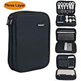Iksnail Electronic Organizer, Three Layer Cable Organizer Bag, Travel Gadget Storage Case for USB Cable, Hard Drive, Power Bank, Digital Camera, iPad Mini/Tablet or E-Book (up to 7.9'') Black