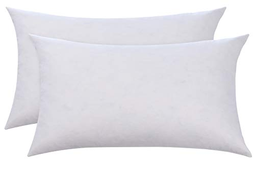 (L' COZEE 100% Cotton Cover Feather & Down Pillow, Best use for Decorative Pillows and for Hard & Firm Sleepers, (no Polyester Filling) King Size 20 x 36, Set of 2)