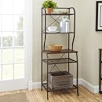 Mainstays Mixed Material Bakers Rack, Hammered Bronze Finish