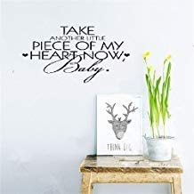 Qiu1936 Take Another Little Piece of My Heart Now Baby Quotes Wall Stickers for Kids Rooms Girls Boys Bedrooms Vinyl Wall Decals Home Wall Art Decor (Take Another Little Piece Of My Heart Baby)