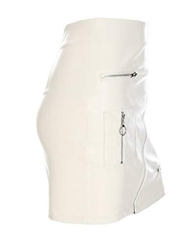 Femmes Jupes Taille Cuir Blanc Court Jupe Mini Pu Haute FlKc1TJ