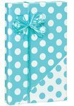 Reversible Polka Dot Turquoise Blue & White Gift Wrapping Paper Roll 16 Foot by Buttons Bags and Bows