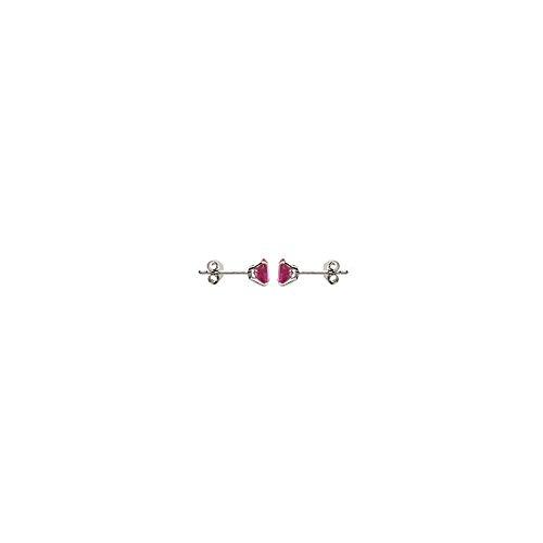 MARY JANE - Boucles d'oreilles Argent Femme/Homme - Diam:6mm - Argent 925/000 rhodié-Pierre synthétique (Puce)