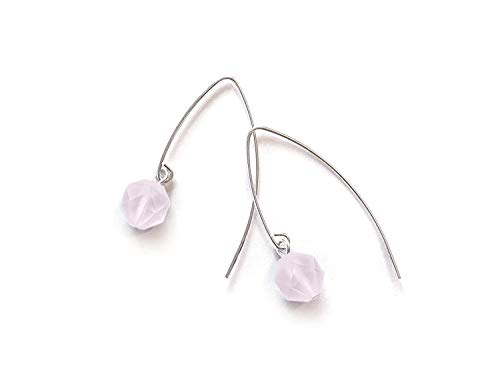 Rose Quartz Earrings - Pale Pink Frosted Rose Cut Crystal Earrings with Long Sterling Silver Ear Wires - Modern Minimal Style ()