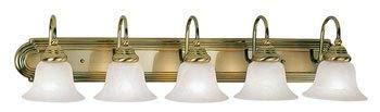 Livex Lighting 1005-01 Belmont - Five Light Bath Bar, Antique Brass Finish with White Alabaster Glass