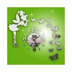 3D DIY Modern Style Butterfly Fairy DIY Mirror Wall Clock Wall Sticker Home Decor Home Decor Fashion Watches Mirror Stickers