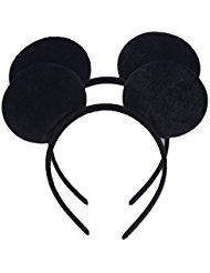 Set of 12 Mickey Minnie Mouse Costume Deluxe Fabric Ears Headband White Polka Dots Bow Boys Girls Birthday Party Hairs Accessories Baby Shower Headwear Halloween Party Favors Decorations (Black)