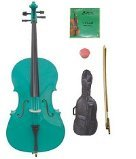 GRACE 1/8 Size Green Cello with Bag and Bow+Rosin+Extra Set of Strings