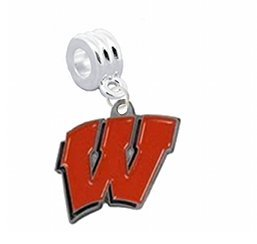 """Wisconsin Badgers Charm with Connector """"Classic & Original Style"""" - Fits: Pandora, Troll, Biagi & More! Perfect For Custom Bracelets, Necklaces and DIY Jewelry"""