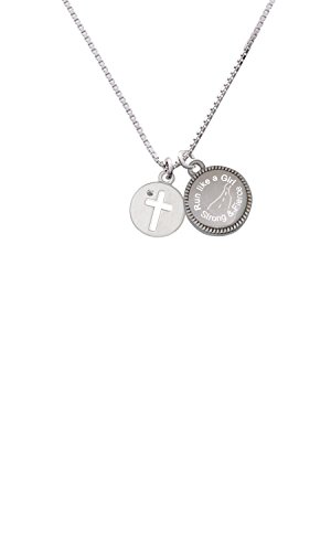 (Cross Silhouette Run Like a Girl - Strong and Fierce Engraved Necklace)