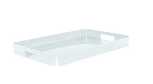 Zak Designs 21in x 13.5in Large Gallery Serving Tray - BPA-free, Eggshell White GL (With Trays Handles Melamine)
