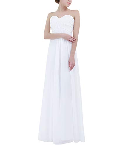 YiZYiF Sweetheart Bridesmaid Chiffon Prom Dresses Strapless Long Evening Gowns White 10