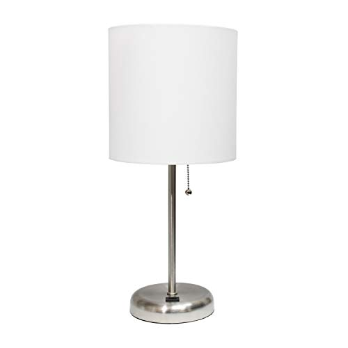 Limelights LT2044-WHT Stick USB Charging Port and Fabric Shade Table Lamp, Brushed Steel/White (White Shimmer Lamp Shade)