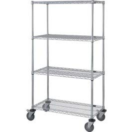 - Quantum Storage Systems M2460CG47RE 4-Tier Wire Shelving Mobile Cart with 3-Sided Enclosure Using Rod and Tab, Stem Caster, 3 Wire and 1 Solid Shelf, Chrome Finish, 80