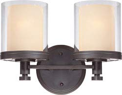 (Replacement for 60/4542 Decker 2 Light Vanity Fixture with Clear and Cream Glass Sudbury Bronze Contemporary)