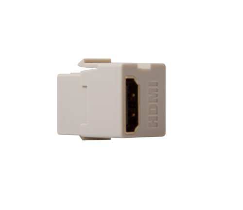 Leviton 40834-T Feed Through, QuickPort HDMI Connector, Light - Plate Connector Almond