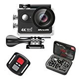 Muson 4K WIFI Action Camera 2.0 Screen 12MP F/2.4 170 Degree Wide Angle 30M Waterproof Sports DV With 2.4G Remote Control and 19 Accessories kits (blacK)