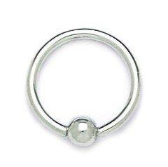 14k White Gold 14 Gauge Circular Body Piercing Jewelry Bead Ring - Measures 14x14mm