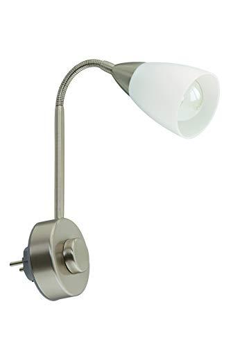 Briloner Leuchten Stekkerlamp Flexarm, Leeslamp 25W, Mat Nikkel Wit, Metaal, 1 Stuk