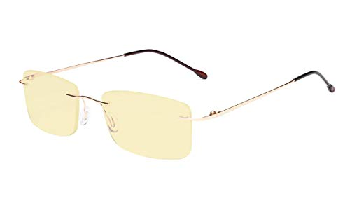 Eyekepper Blue Light Blocking Computer Reading Glasses Flexable Rimless Readers Men Women Yellow Tinted Gold +2.25 ()
