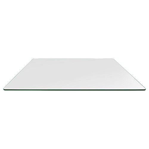 60' Rectangle Glass - TroySys Rectangle 3/8 Inch Thick Flat Polished Tempered Glass Table Top Radius Corner, 36