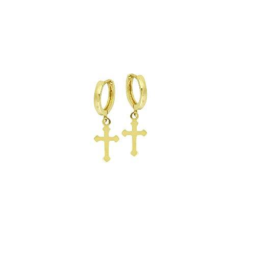 - 14kt Yellow Gold 10mm Baby Hoop Earrings W/Dangle Cross