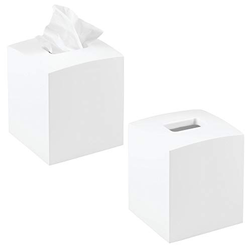 mDesign Square Bamboo Wood Facial Tissue Paper Box Cover Holder for Bathroom Vanity Counter Tops, Bedroom Dressers, Night Stands, Home Office Desks, Tables - 2 Pack - White