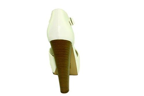 Breckelles Femmes Brina-21 Plateforme En Similicuir T-strap Peep-toe Talons Chuncky Blanc