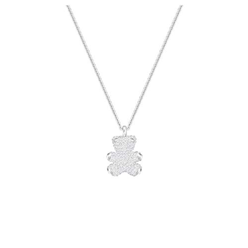 3D Stereo Bear Teddy Bear Inlaid Czech Diamond Necklace Clavicle Chain with Swarovski (Silver) (Chain Teddy)