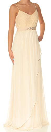 Adrianna Papell Women's Embellished Lace Tiered Empire Gown Tan Size 2 from Adrianna Papell
