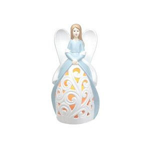 HomeReflections Ceramic Angel Luminary with Flameless Candle with Timer (Blue) - H192679