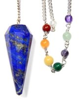 Enchanted Pendulum (Lapis Faceted Chakra Pendulum with Satin Bag and Instruction Leaflet for Divination / Dowsing Tool)
