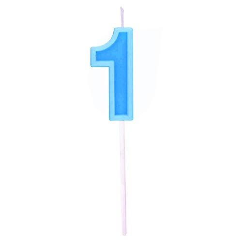 Multicolor Happy Birthday Numeral Candles Number 1 Cake Cupcake Topper Decoration for Adults/Kids Theme Party/Wedding/Memorial Day -Blue number 1