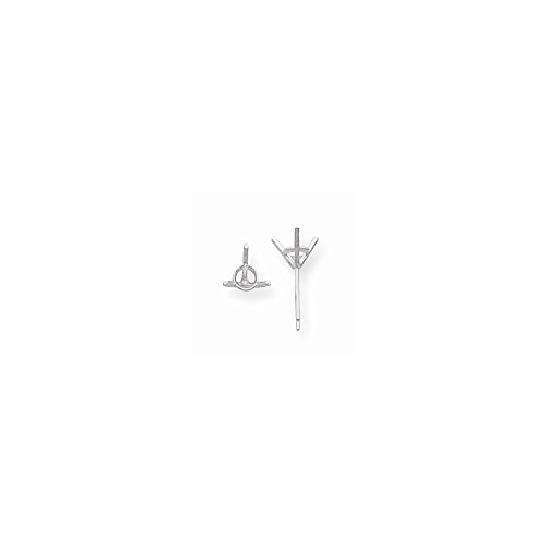 FB Jewels Platinum Round, 3-Prong Martini Gla Sterling Silver Shape 1.66ct. Earring Setting