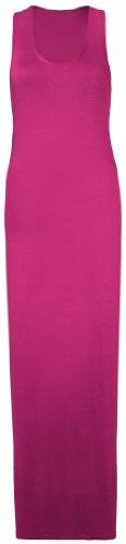 Purple Hanger - Damen Maxi Kleid U-Ausschnitt Trikot Racerback Ärmelloses Stretch Maxi Trägerkleid Kirschrot apZSIhz
