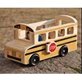 london-kate Deluxe Wooden School Bus Play Set with Bus Driver and Children Figures