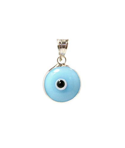 (MIZZE Made for Luck Light Blue Authentic 925 Sterling Silver 10 MM Round Glass Evil Eye Charm Pendant)
