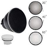 Godox Standard Reflector 7''/18cm Diffuser with 20/40/60 Degree Honeycomb Grid for Bowens Mount Studio Light Strobe Flash by Godox