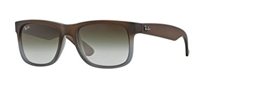 Ray-Ban RB4165 JUSTIN 854/7Z 55M Rubber Brown On Grey/Green Gradient Sunglasses For Men For Women