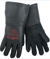Tillman 875 Onyx All Black Premium Top Grain Elkskin Welding Gloves, M