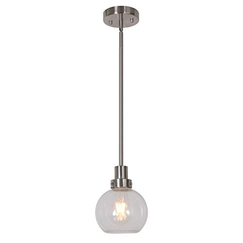 ELUZE Modern One Light Mini Pendant Light Seeded Glass Brushed Nickel Fixture Hanging Lighting Contemporary Chandelier for Kitchen Living Room Bedroom