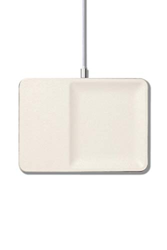 Courant Wireless Charging Accessory Tray, Qi Certified, Fast-Charging, Italian Leather, Compatible With iPhone XS/XS Max/XR/X/Android (Bone)