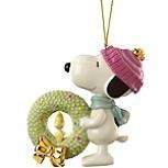 Lenox Peanuts Snoopy's Christmas Wreath Porcelain Ornament