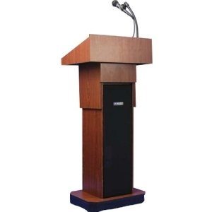 AmpliVox SW505A - Wireless Executive Adjustable Column Lectern - 4534; Height - Wood - SW505A-MH